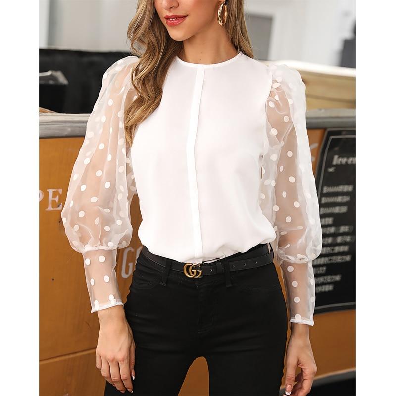2020 Fashion Women's Long Sleeve Mesh Sheer Blouse Sexy Lantern Sleeve Tops Vintage Polka Dot Printed Sleeve Baggy O-neck Shirts