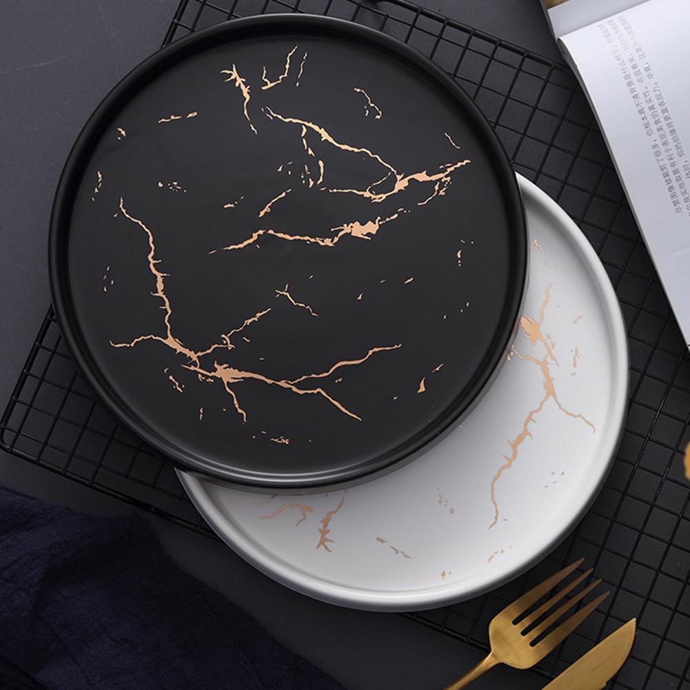 ><font><b>Nordic</b></font> <font><b>Style</b></font> Marble Dish Innovative Home <font><b>Ceramic</b></font> Dish Western Steak Plate Black Tableware Breakfast Flat Plate