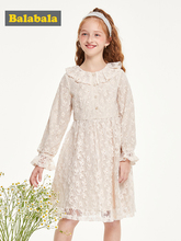 Balabala Children clothes girls dress 2019 new autumn sweet long sleeve lace princess dress cotton clothing new lace girls dress retro embroidery long sleeve christmas clothes girls party dress teenagers princess dress 3 13 years ca341