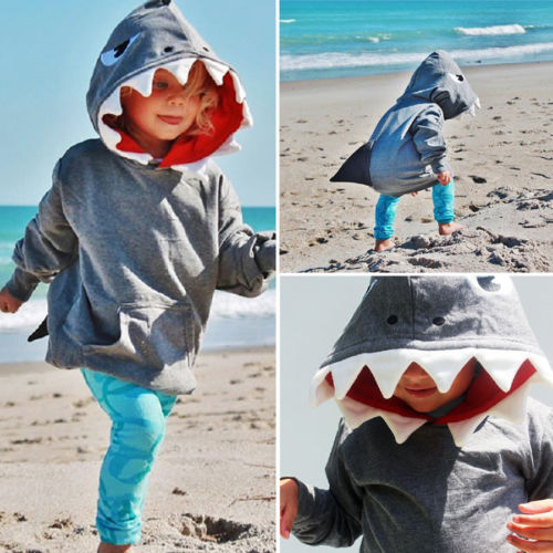 Toddler Kids Boys Shark Hooded Tops Hoodies Outerwear Casual Clothes Autumn Pocket Warm Cotton Soft Casual Solid Swearshirts