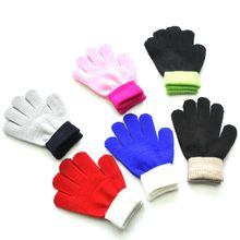 Children Kids Magic Winter Gloves Colorblock Full Finger Warm Knitted Gloves Solid Cotton Blends Soft Fashion Attractive Glove(China)