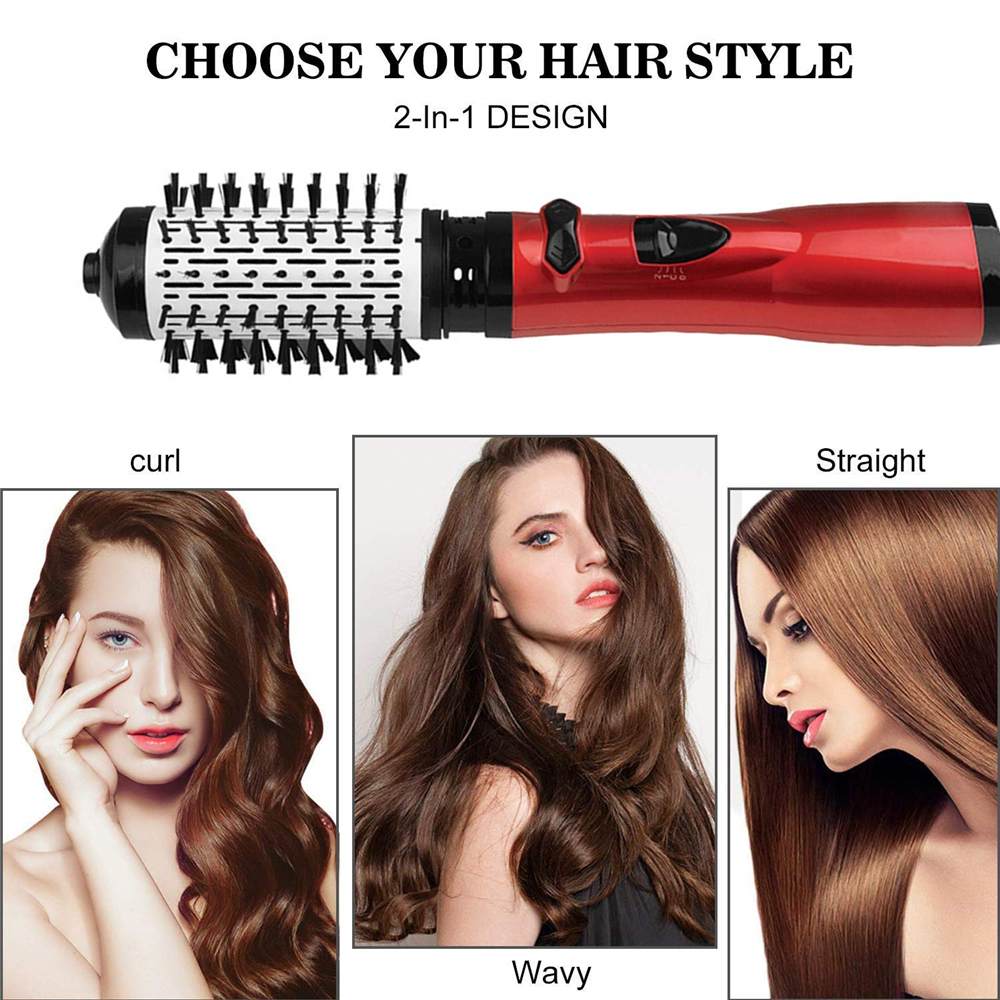 3 in 1 Hair Dryer Brush Changeable Rotating Roller Fan Hair Straightener Curler Hot Comb Salon Styling Tool With Face Mask Gift