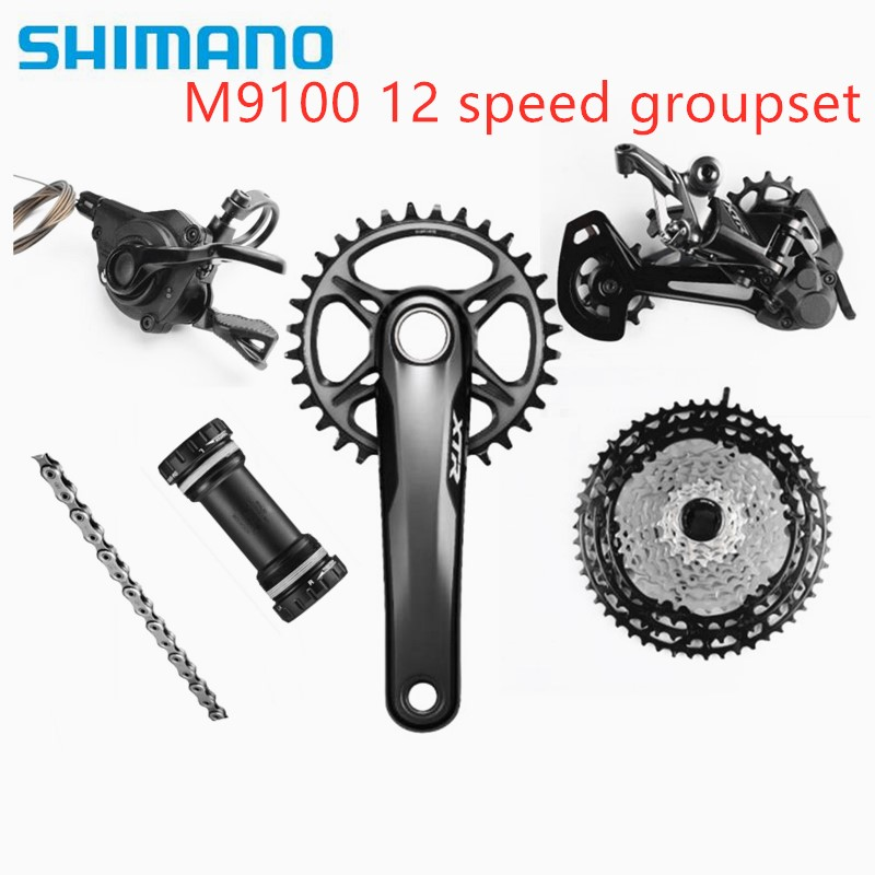 Shimano <font><b>XTR</b></font> <font><b>M9100</b></font> 170/175 32T 10-51T Cassette12 Speed Groupset Rear Derailleur SGS for 51T Right Shifter lever 116 Link Chain BB image