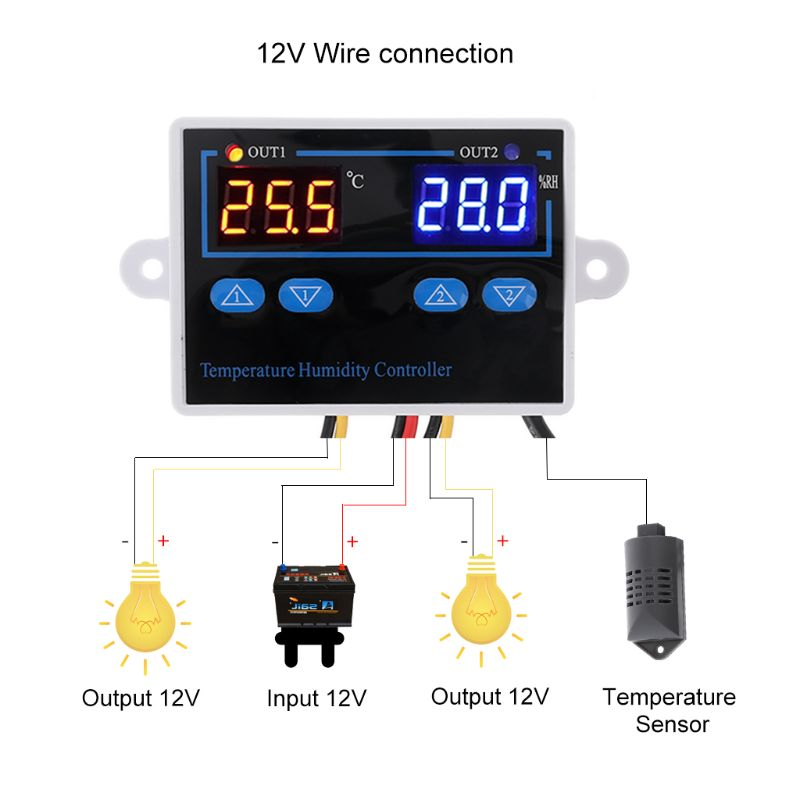 2in1 220V 24V 12V Digital Temperature Humidity Controller Thermostat with Sensor