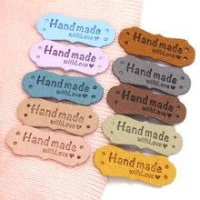 20 pces etiquetas de couro do plutônio para chapéus feitos à mão diy sacos feitos à mão com etiqueta do amor para a roupa etiquetas de costura acessórios do vestuário