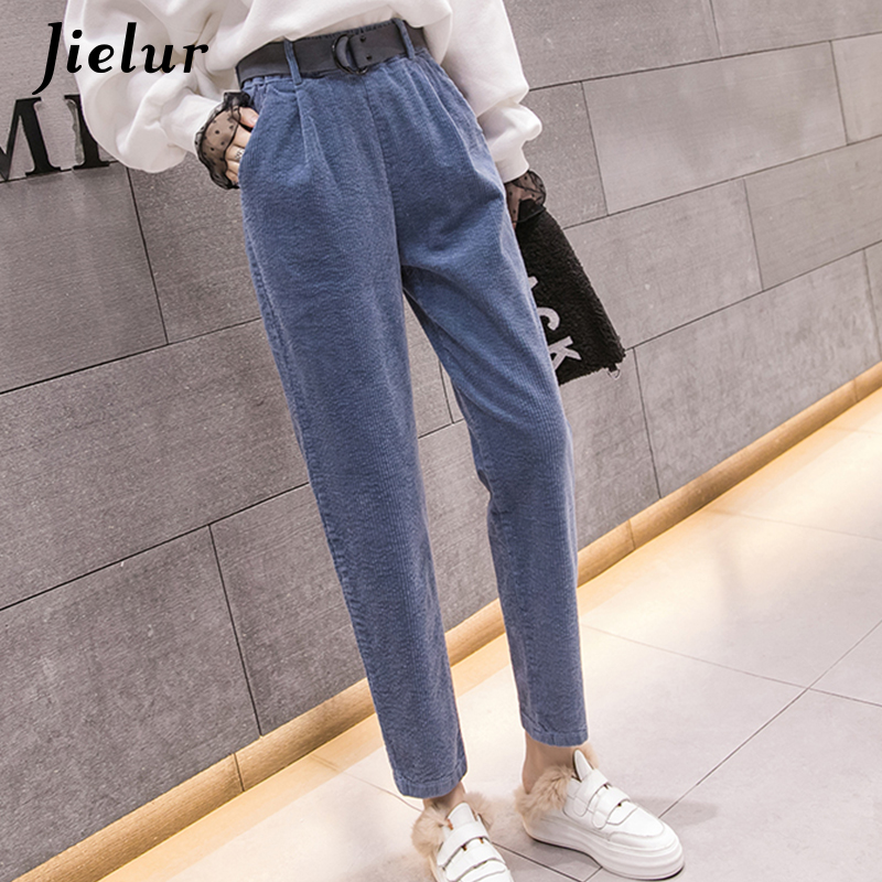 Jielur Warm Corduroy Pants Women 2020 Winter Harem Pants Female S-3XL Loose Korean Style Fashion Leisure White Black Capris Belt