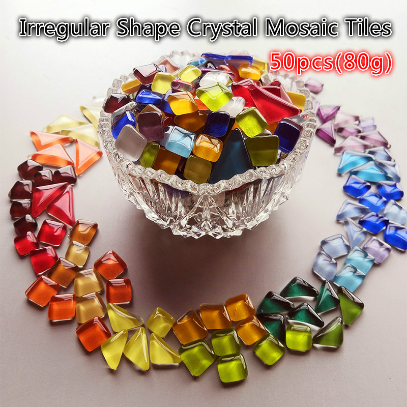 50pcs(Approx. 80g) Colorful Crystal Mosaic Tiles Irregular Shape Mosaic Stone Mixed Color DIY Art Craft Materials For Children