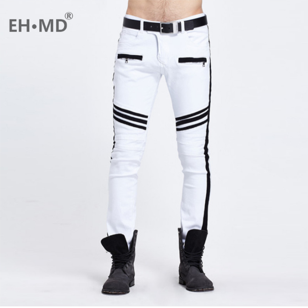 EH·MD® 2020 New Jeans Men Black and White Folding Oversize European and American Zipper Decorative Denim Feet Pants Slim Fit