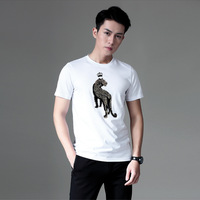 2018 New Style MEN'S T shirts Short Sleeve European And American Minimalist Embroidered Tiger Mercerized Cotton Round neck Shirt