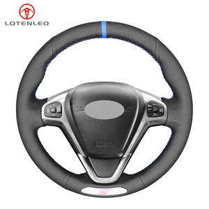 Image 1 - LQTENLEO Black Genuine Leather DIY Hand stitched Car Steering Wheel Cover For Ford Fiesta ST 2013 2014 2015 2016 2017 2018