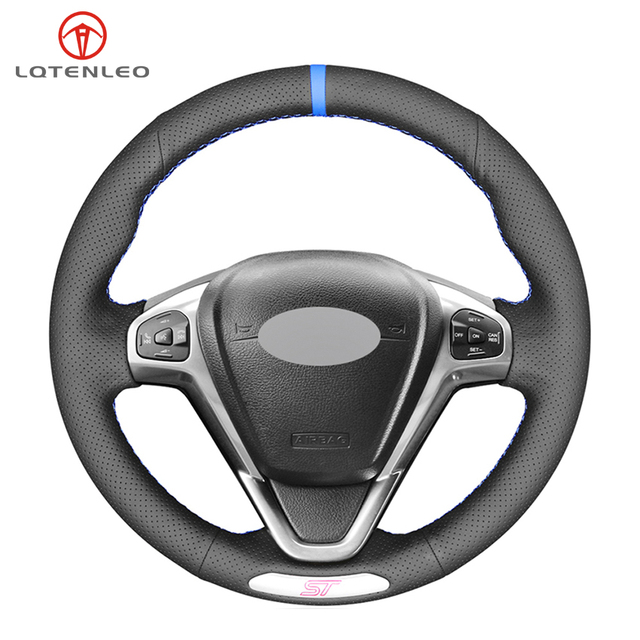 LQTENLEO Black Genuine Leather DIY Hand stitched Car Steering Wheel Cover For Ford Fiesta ST 2013 2014 2015 2016 2017 2018