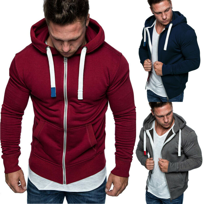 Pullover Hoodie Sweatshirt Jacket Zipper-Top Streetwear Fleece Plain Casual Cotton Men's title=