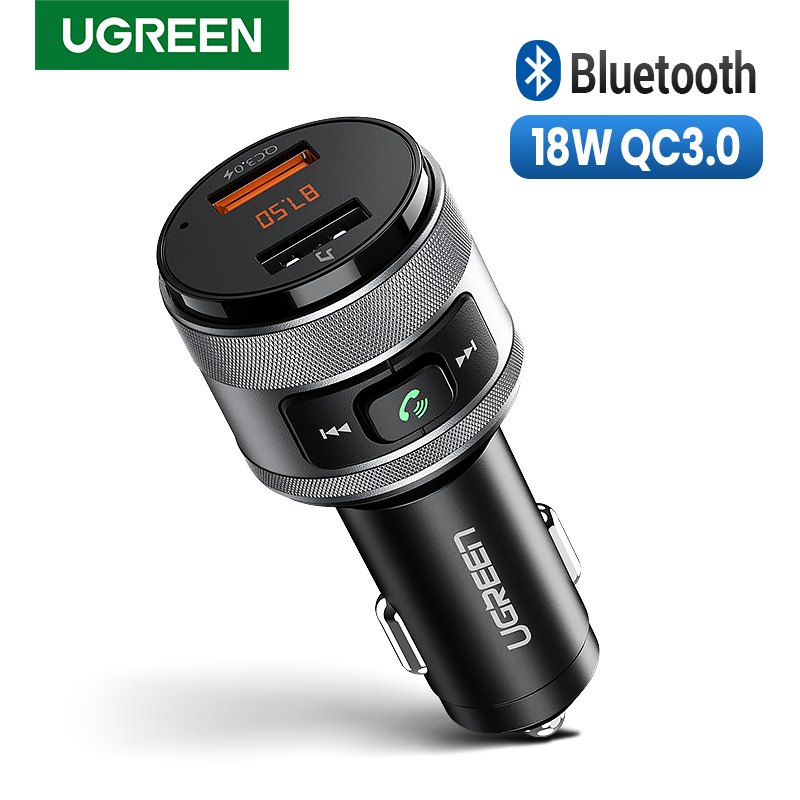 Ugreen Usb Car Charger Fm-zender Qc 3.0 Auto Opladen Fast Charger QC3.0 Oplader Voor Xiaomi Samsung Iphone Quick 3.0 lading