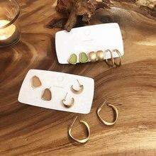 Женские серьги кольца в Корейском стиле геометрические матовые