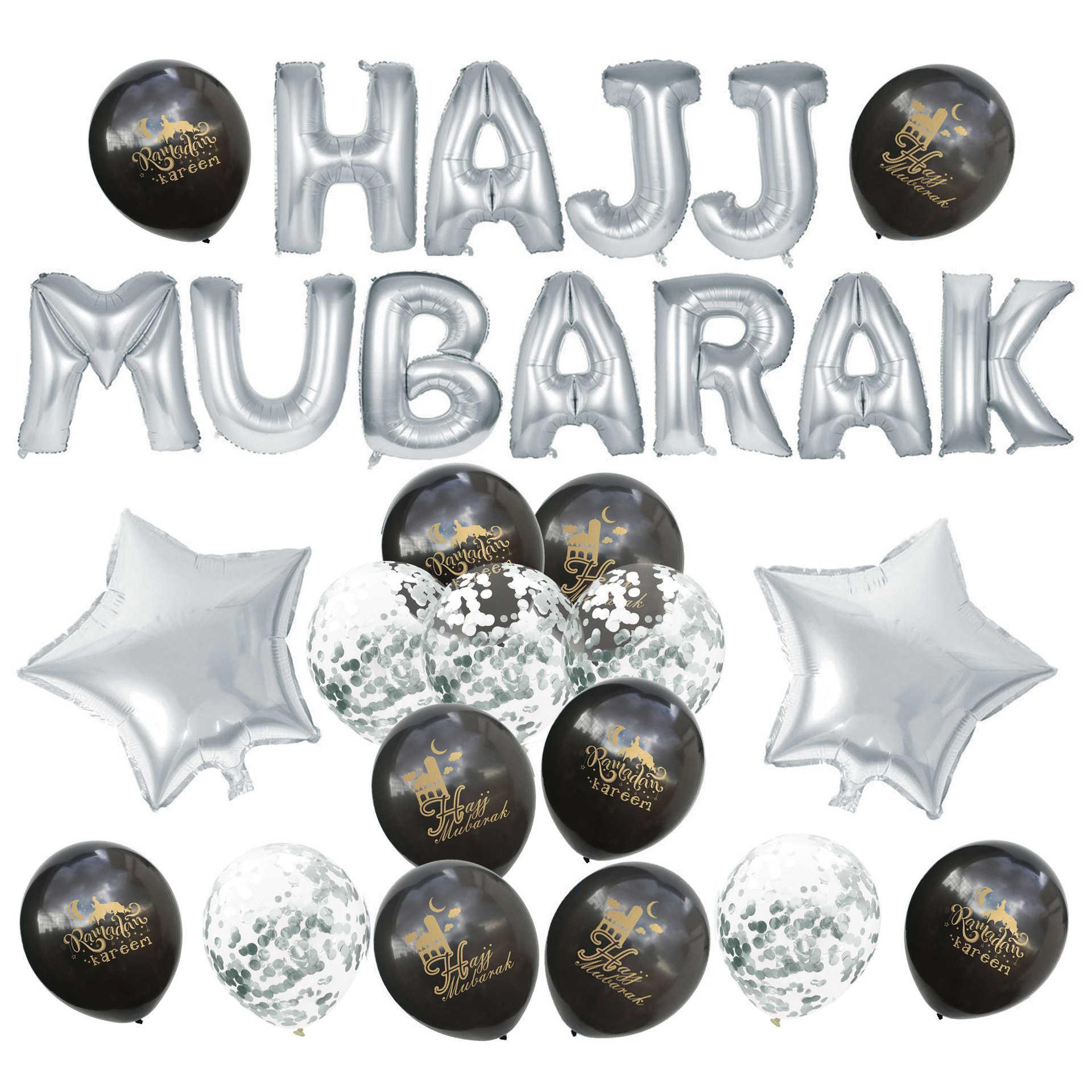 Ouro Prata Preto Eid MUBARAK Al-Fitr HAJJ Balões DIY Conjunto Lasser Bairam Ramadan Festa Confetti Da Folha De Balões de Látex decoração do jardim