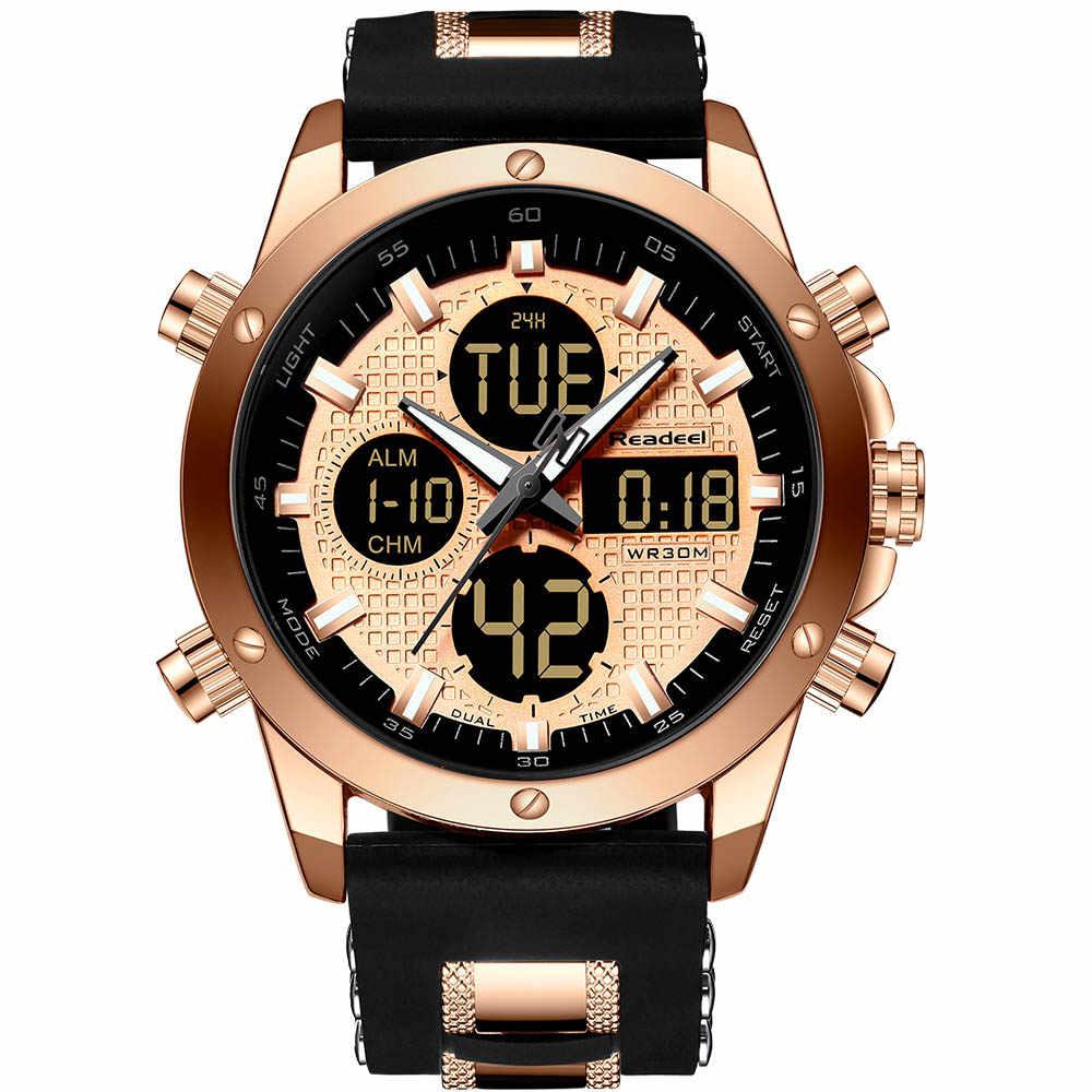 Montres hommes Top marque de luxe chronographe or hommes montre Quatz numérique montre LED de sport hommes homme horloge homme étanche montre-bracelet