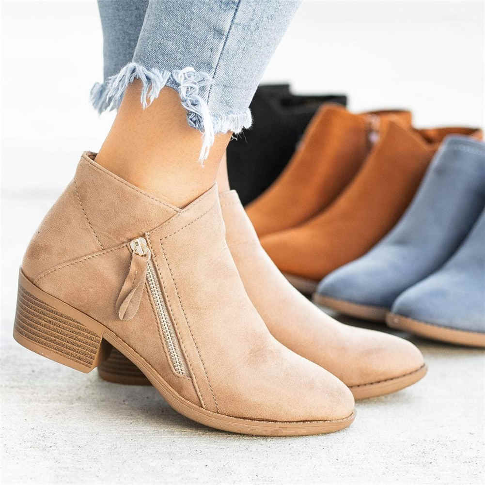 Karinluna 2019 klasik dropship büyük boy 43 ilkbahar sonbahar ayakkabılar kadın yarım çizmeler kadın kısa çizmeler kadın ayakkabıları