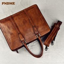 PNDME maletín vintage de cuero genuino para hombre, bolso de mano para ordenador portátil de negocios, piel de vaca de lujo, bolsas de mensajero de hombro para oficina