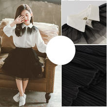 Girls Fashion Kids Outfit Spring Fall Girls Skirt Set Back To School Clothes Teenage Clothing White Lace Blouse +black Skirts