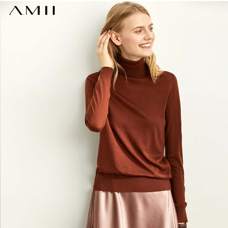 Amii Minimalist French Temperament High Collar Sweater Women  New Solid Color 11920346 Long Sleeve Wool Base Shirt 11920346