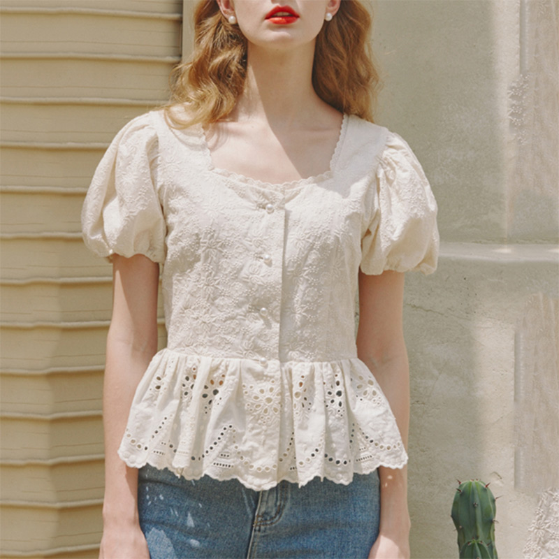 Femmes blanc Blouse haut court 2019 Style coréen découpe col carré broderie à manches courtes Blouse dames tunique coton chemise