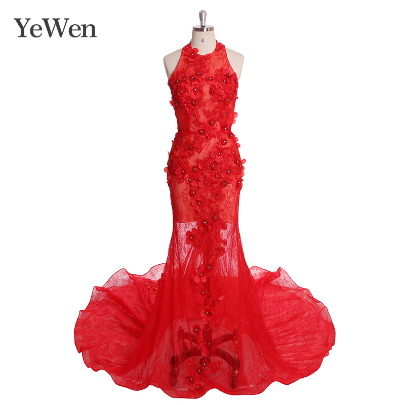 Dentelle sirène longue robes de soirée YW009 robe rouge robe formelle femmes élégant robe de bal YeWen