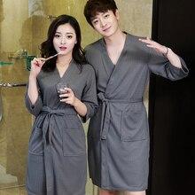 Влюбленные летние водопоглощающие модные полотенца банные мужские халаты сексуальное кимоно Вафельный Халат для мужчин размера плюс мужской Халат