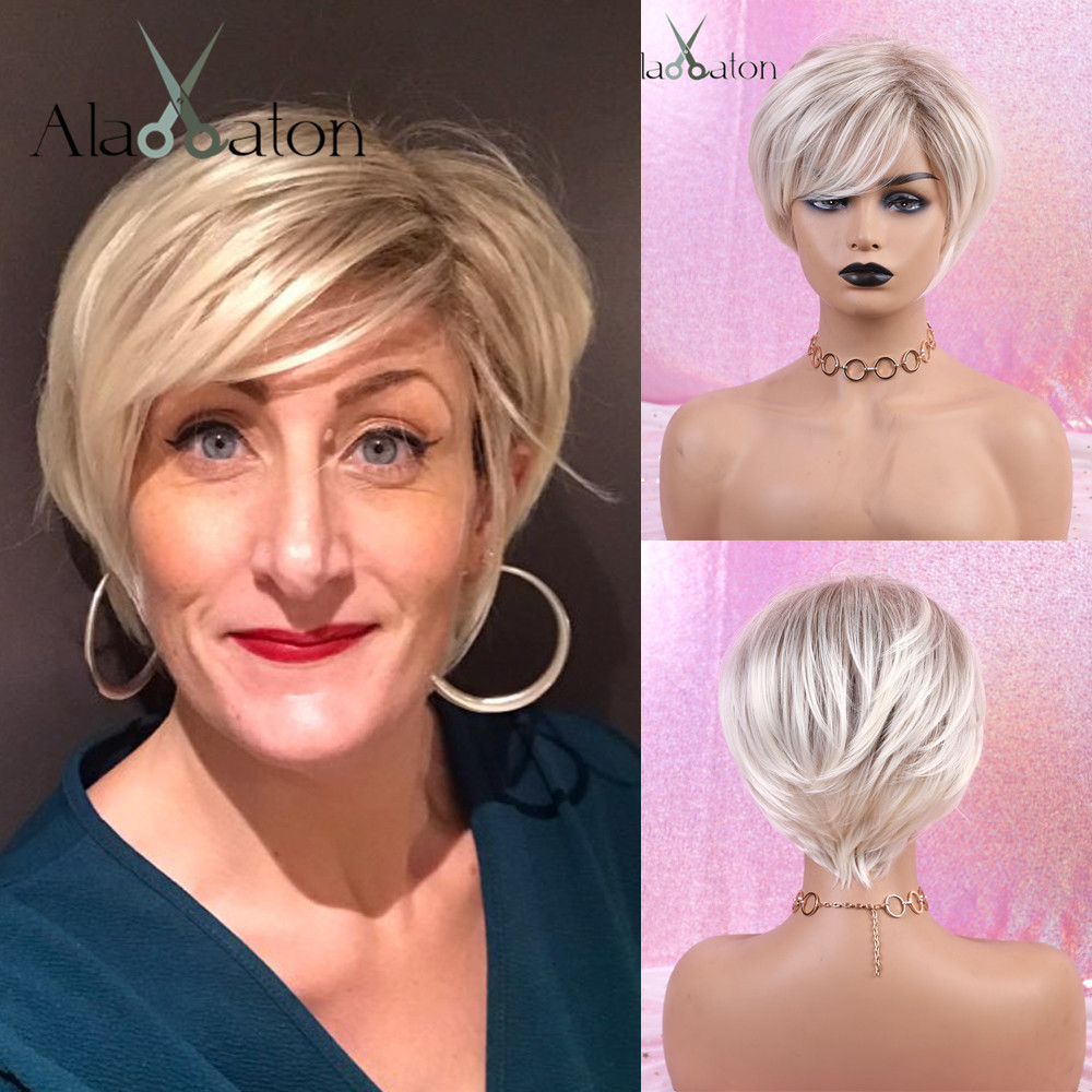 ALAN EATON White Blonde Ombre Straight Short Wigs With Bangs High Temperature Fiber Synthetic Wigs For Women Heat Resistant