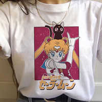 90s Tshirt Fashion Graphic Top Tee Female Sailor Moon Harajuku Kawaii Anime T Shirt Women Ullzang Funny Cartoon T-shirt Cute Cat