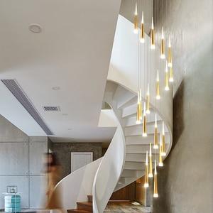 Image 5 - LED Chandelier Gold/Black/White/Coffe/Silver Staircase Long Pendant Lamp Duplex Building Villa Attic Adjustable Hanging Light