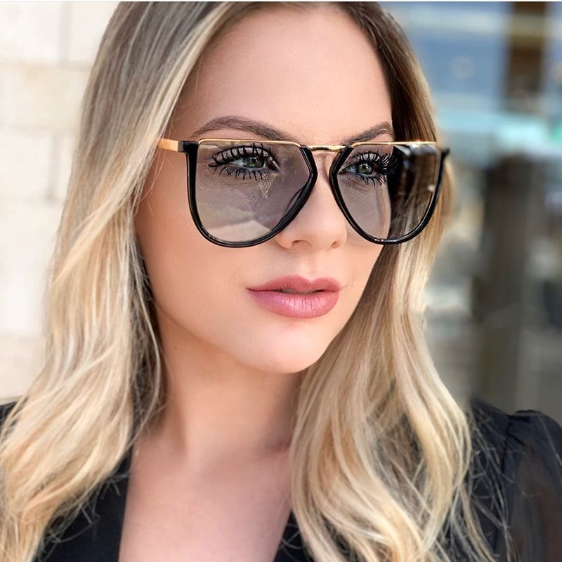 QPeClou <font><b>2020</b></font> Oversized Sunglasses Men Vintage Metal Irregular Sun Glasses Women Brand Designer Shades For Female Oculos De Sol image