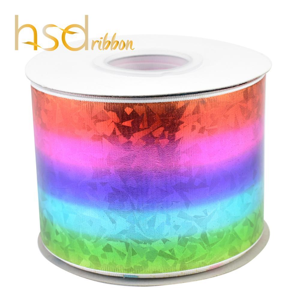HSDRibbon 75mm 3 cal Rainbow szkła folia ryps wstążka w Wstążki od Dom i ogród na  Grupa 1