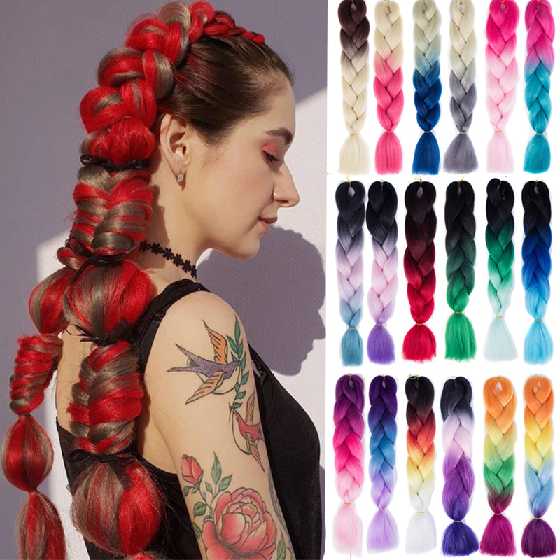 LUPU Red Pink Purple Blonde Ombre Braiding Crochet Hair Jumbo Braid Synthetic Heat Resistant Kanekalon Hair Extension For Girls