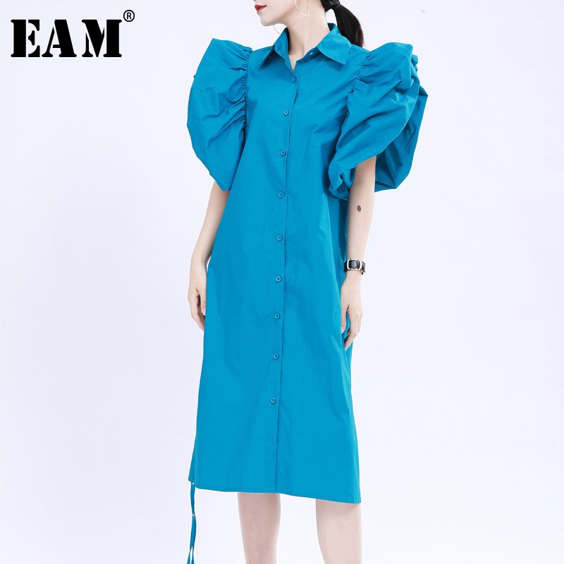 [EAM] Women Blue Pleated Drawstring Pleated Shirt Dress New Lapel Short Sleeve Loose Fit Fashion Tide Spring Summer 2020 1U505