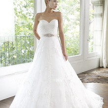 free shipping tulle A-line ruffled organza bodice Lace beaded sash crystal custom bridal gown 2018
