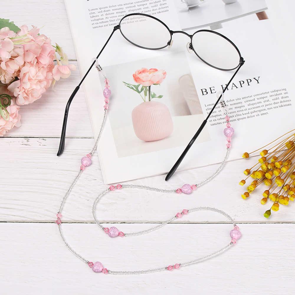 1 piezas 61/70cm moda forma de corazón cuentas de lectura gafas cadena gafas de sol cordones para exteriores deportes gafas cuerda correa para el cuello