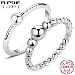 Eleshe Authentieke 925 Sterling Zilveren Kralen Ring Simple Ball Finger Ring Voor Vrouwen Bruiloft Engagement Sieraden Christmas Gift