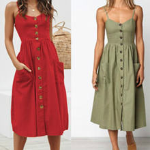 Women spring summer dress solid color casual spaghetti strap