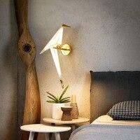 2PCS Creative Paper Crane Birds Wall Lamp Gold LED Bedside Lamp Modern Home Living Room Restaurant Decoration Wall Lamp