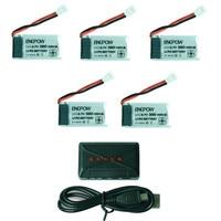 Cargador USB de juguetes de control remoto hiest + 5 uds. 3 7 V 380mAh batería para Hubsan X4 H107 para Syma x11 X3 Futural Digital|Partes y accesorios| |  -