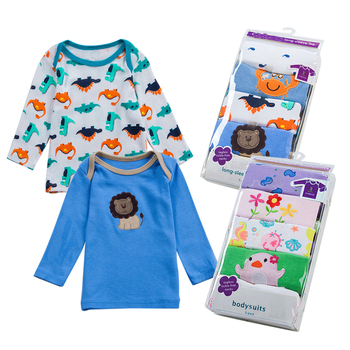 5 pcs/pack Girls Boys long sleeve 100%Cotton T-shirt Baby & Kids tops tees cartoon o-neck toddler infant clothes