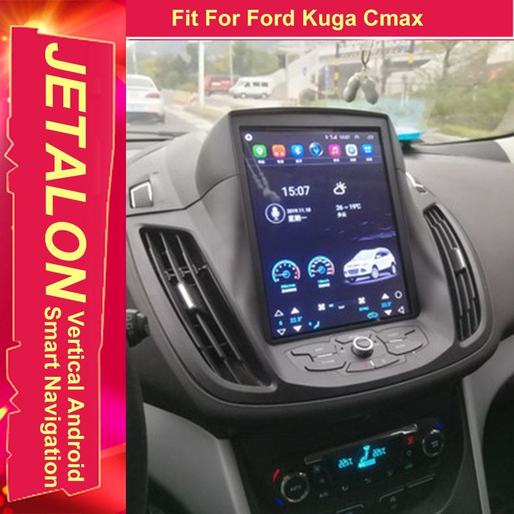 For Ford Kuga C-Max 2014 2013 Tesla Radio Android 9.0 Stereo GPS Car Multimedia Audio Player 4G Network Navigation IPS SCREEN