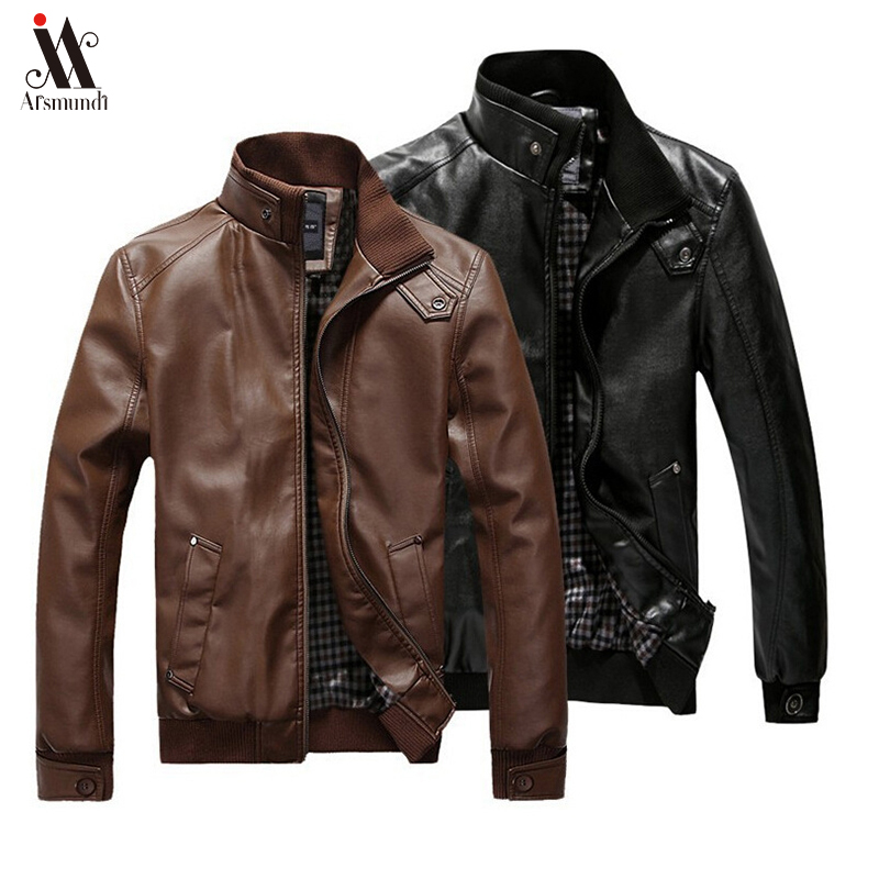 2020 New Fashion Autumn Male Leather Jacket Black Brown Mens Stand Collar Coats Leather Biker Jackets Motorcycle Leather Jacket