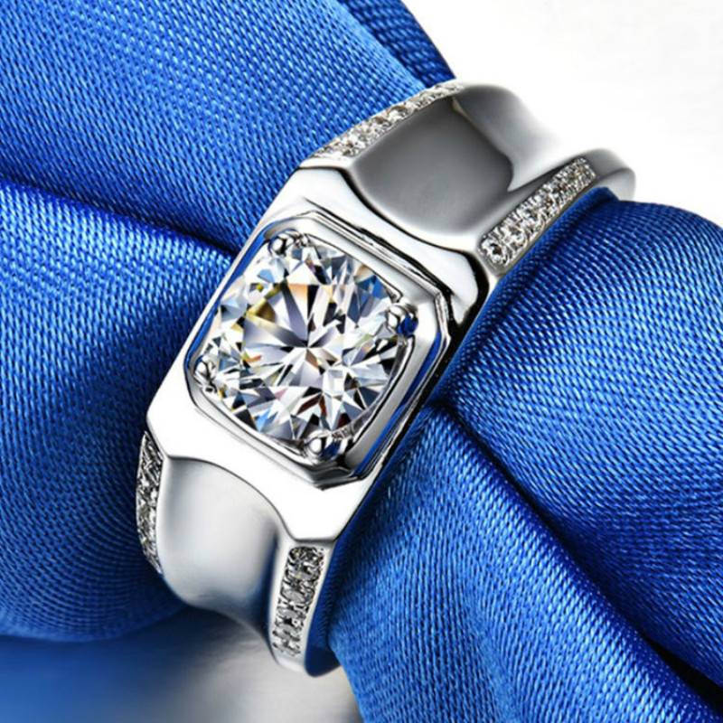 Bague homme Simple 2ct Carat argent pur anneaux de mariage simulé bague Moissanite bijoux de mode