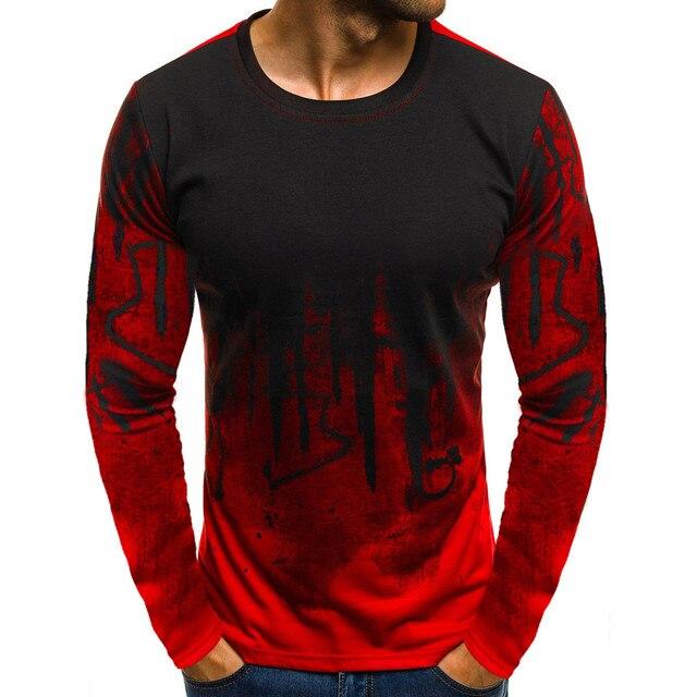 KANCOOLD Men trend casual men's T-shirt Men Gradient Color T-shirt 2019 spring new fashion O-neck slim long-sleeved T-shirt top