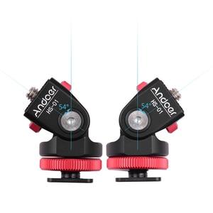 Image 5 - Andoer HS 01 コールドシューマウントアダプタブラケットホルダーアルミ合金 1/4 インチネジ led ライトビデオモニターカメラ