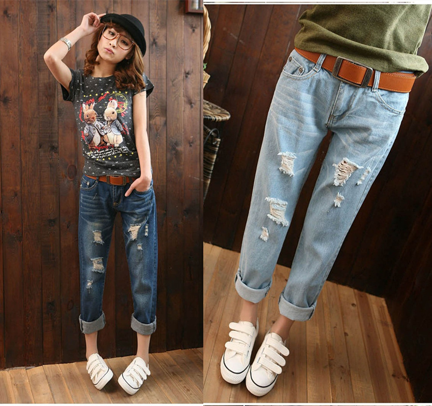 Women Denim Holes Haren Nine Part Jeans Loose Big Size Knicker Tide Leg Female Lady Pants Skinny Female Stretch Trousers