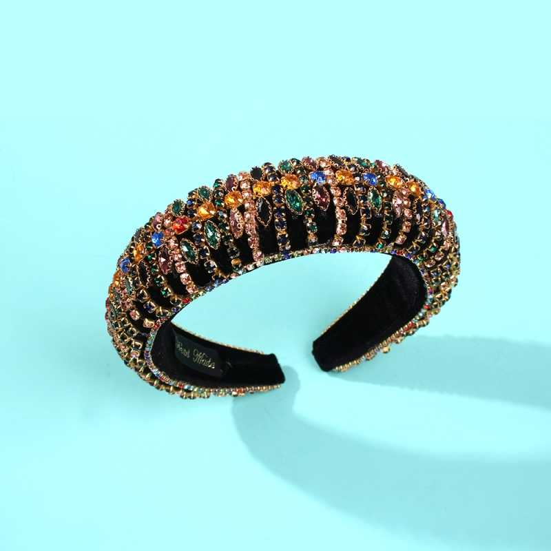 Bunte Strass Padded Stirnbänder Volle Kristall Perlen Haarband Schwamm Haar Hoop Luxus Party Frauen Stirnband Shiny Headwear
