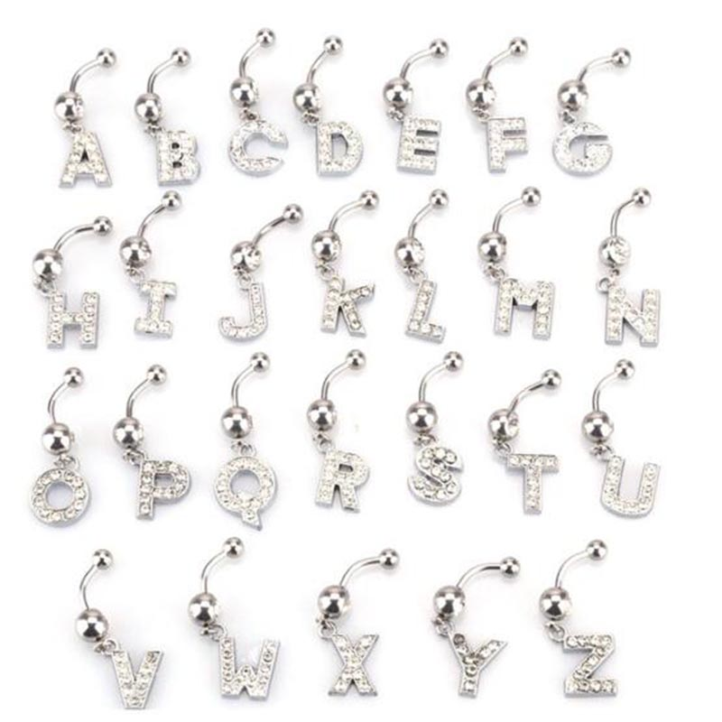 Letters A-Z Belly Button Ring Navel Piercing Bar Dangling Stud Crystal Stainless Steel Zircon for Woman Body Jewelry 14G
