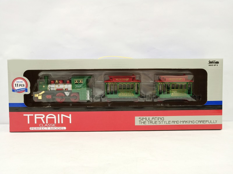 Electric Classical Rail Train Set CHILDREN'S Toy Light Sound Model Retro Small Train Model